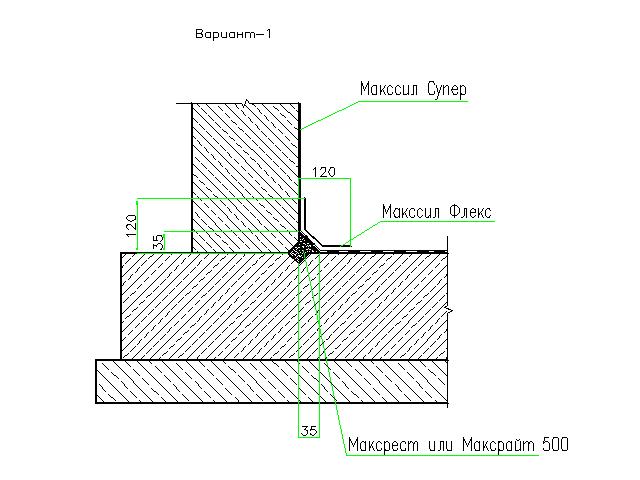Гидроизоляция рабочего шва бетонирования стена-фундаментная плита. Вариант 1.