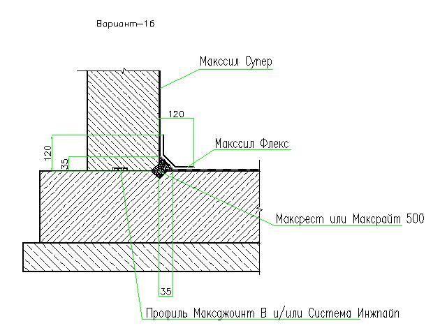 Гидроизоляция рабочего шва бетонирования стена - фундаментная плита. Вариант 2.