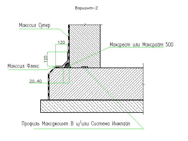 Гидроизоляция рабочего шва бетонирования стена - фундаментная плита. Вариант 3.